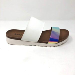 Dirty Laundry Cant Stop Iridescent Slide Sandal